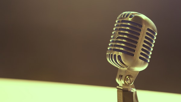Microphone against plain background