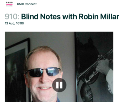 Robin Millar with black and white images of musicans in the background
